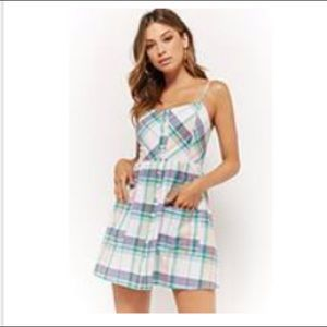 Forever 21 Plaid Button-Front Cami Dress